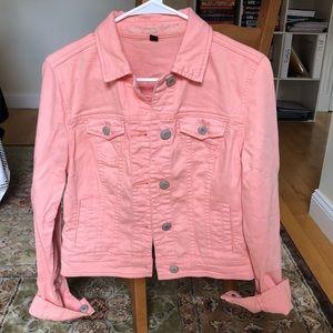 Salmon colored denim jacket